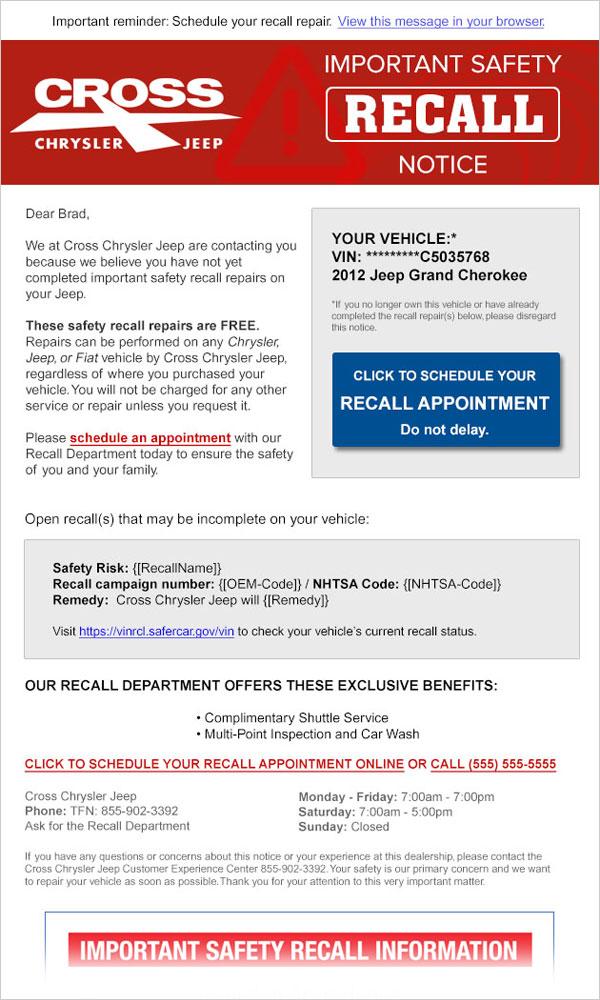 Dealer Recall Programs